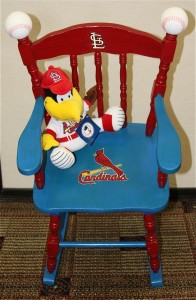 One of this year's favorites was this Fredbird rocker that is destined for Phil Mullen's grandson, who is primed to be an early Cardinal's fan.