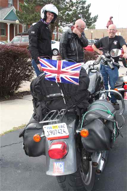 These bikers flew there flag on their roadtrip.
