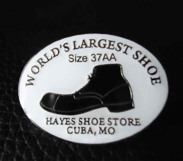 Route 66 Robert Wadlow Pin Hayes Shoe Store Cuba, Missouri