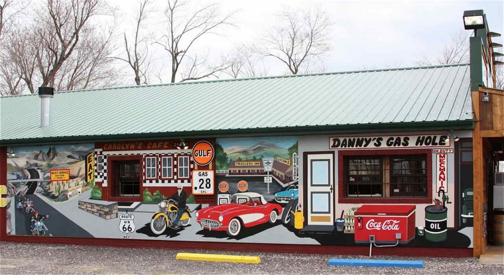 "The Fanning Outpost mural fits in with the ""Route 66 Mural City"" theme."