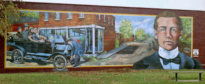 This first mural led to a project of 12 outdoor murals in Cuba MO.