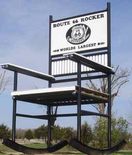 "At 42'1"" tall, the Guinness World's Largest Rocking Chair casts a big shadow."