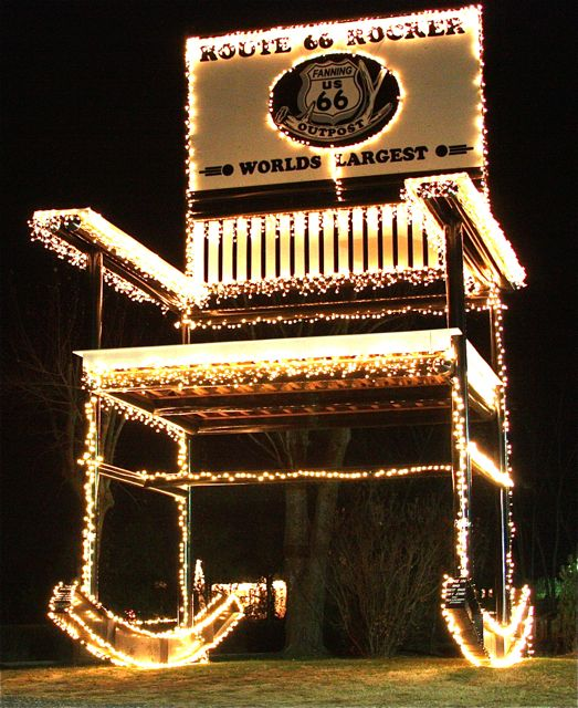 This photo of the World's Largest Rocking Chair decked out for Christmas is one of my favorites.