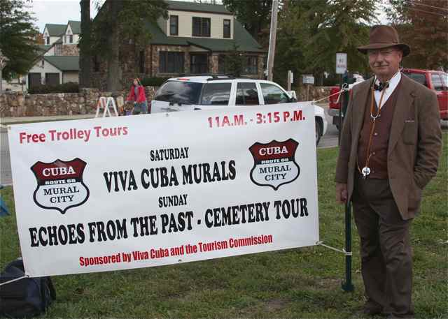 Historical figure Dr. Walter Sherman Cox ventured from Kinder Cemetery on Saturday to promote Sunday's Cemetery Tour.