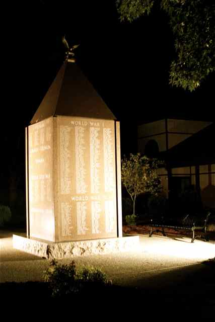 At night, the memorial is a striking site.