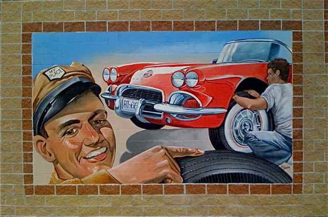 My Place Tires on Route 66 decided to include a road mural on the new building.