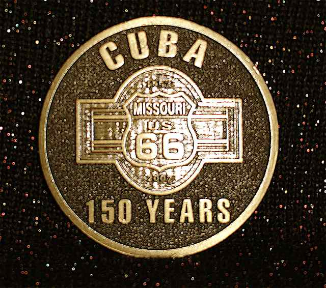 In 2007, this coin was created for the sesquicentennial. It features Route 66 and the railroad, two driving forces to Cuba's development.