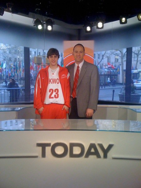 Chubbs Stillman and Bill Gunn pose on the set of the Today Show.
