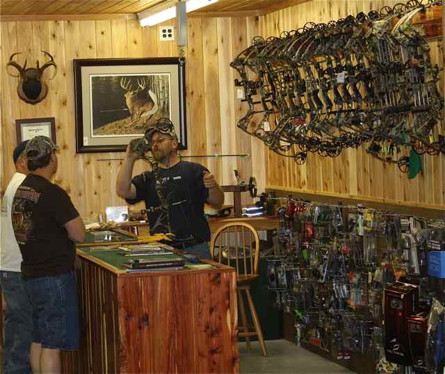 The well-appointed archery shop offers sales and service. The staff is available to answer questions.