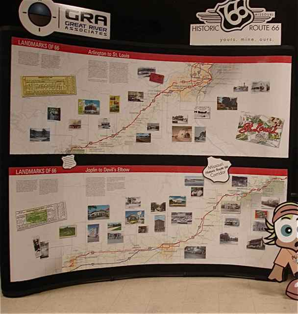 The Rt. 66 Corridor display shows more landmarks along the road in Missouri.