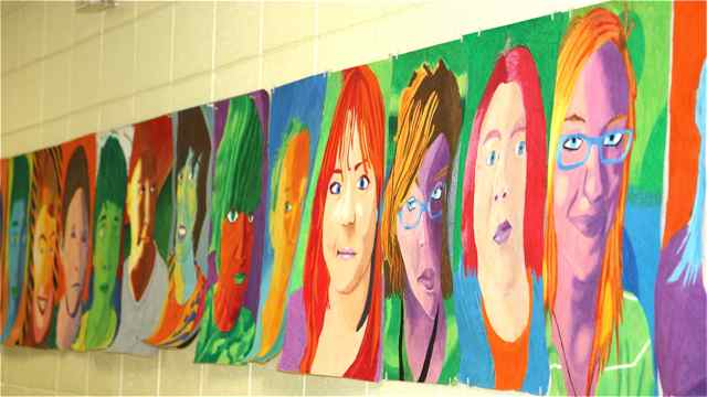 Steiger's students' work hangs outside her classroom.