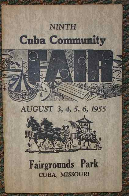 This 1955 fair book comes from the days when the fair was known as the Cuba Community Fair. Notice that is was billed as the 9th annual.
