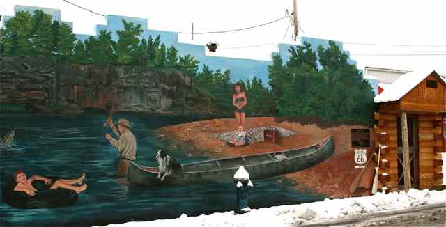 River mural in December snow Cuba, Missouri