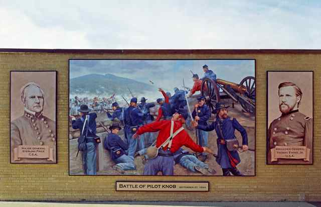 Civil War Mural panel The Battle of Pilot Knob