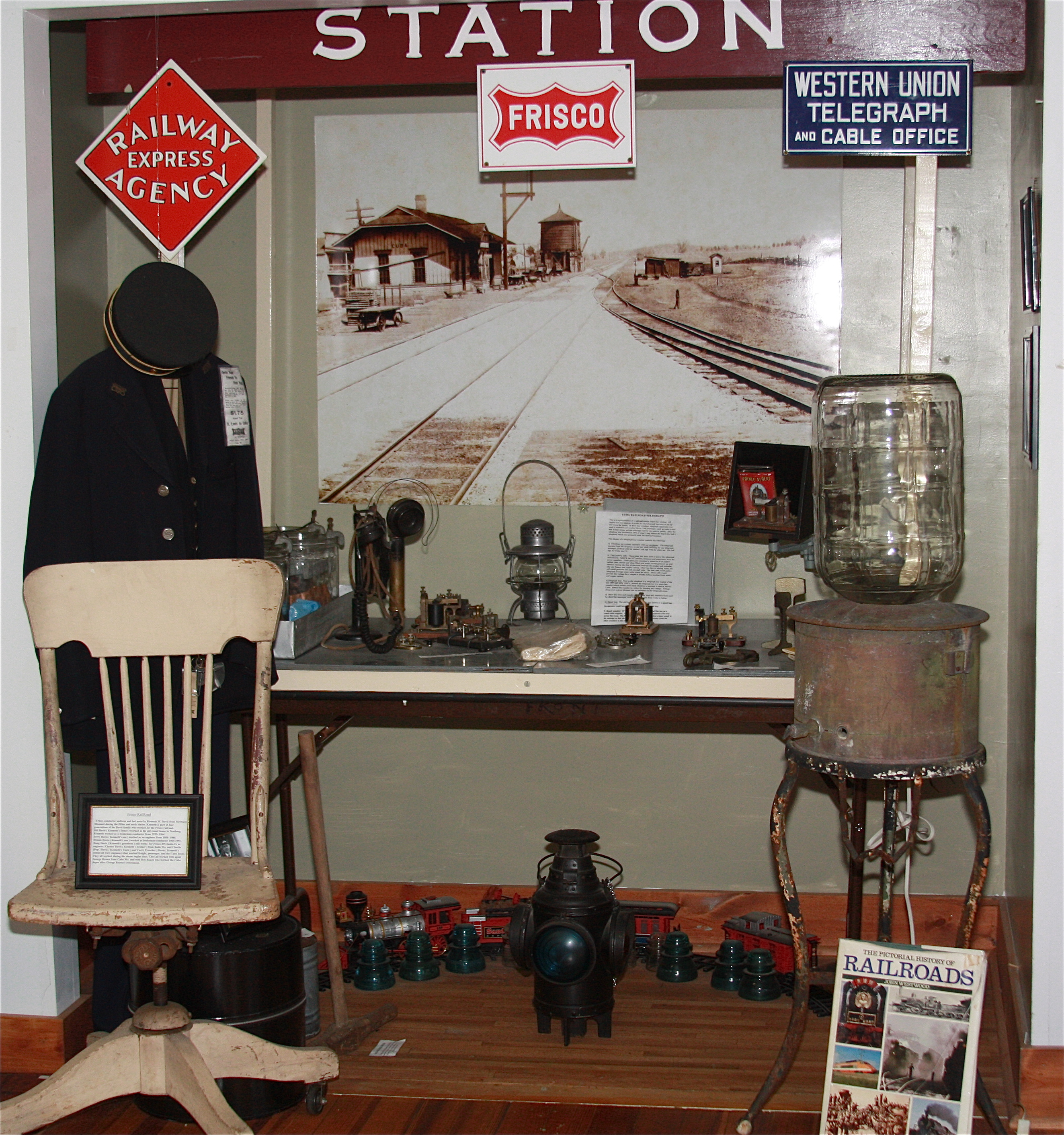 Train exhibit at the Crawford County Museum in Cuba, Missouri