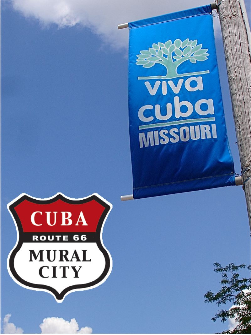 Cuba Missouri banner and shield