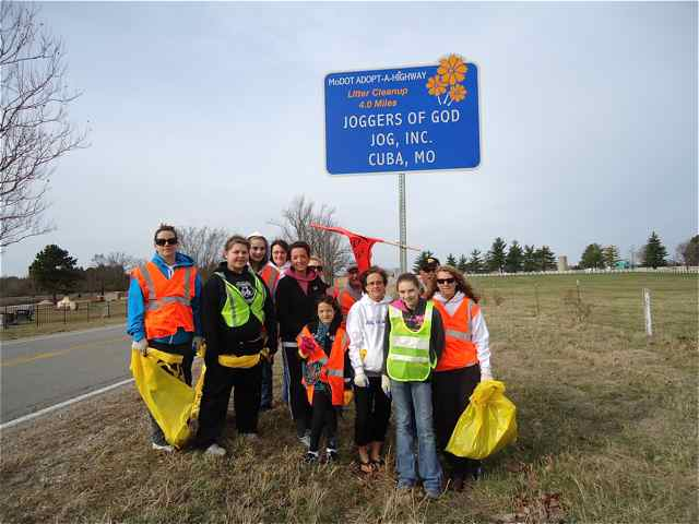 Cuba, MIssouri JOG,inc. members with Adopt-A-HIghway sign Cuba, MIsosuri