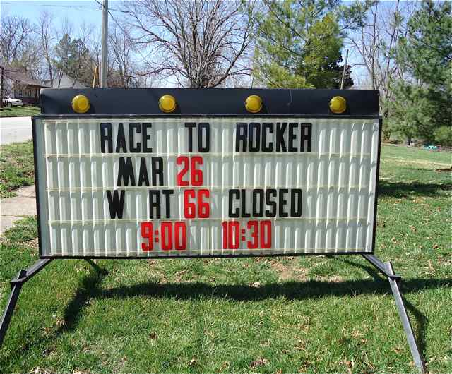 Road closure sign for the Route 66 Race to the Rocker