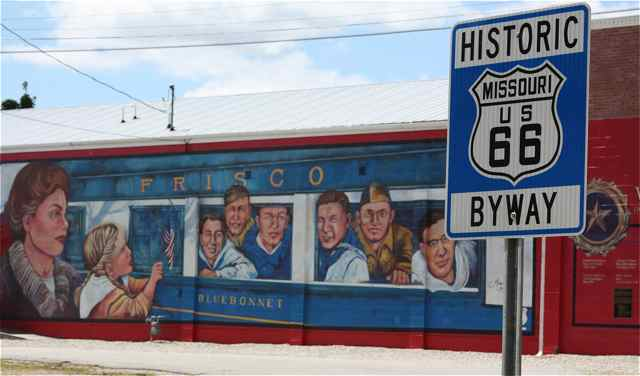 Train mural and Rt. 66 sign cuba missouri