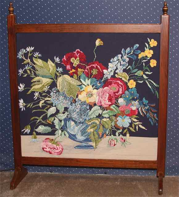 Silk ribbon embroidered fireplace screen Two Pats Gallery