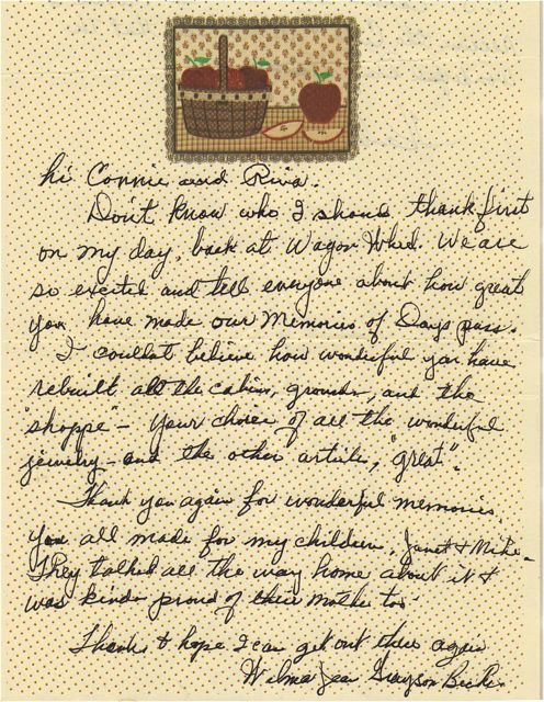 Note from Wilma Jean Grayson Becker