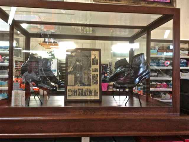 Robert Wadlow Shoes in their glass display case.