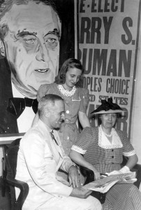 Harry Truman and his wife Bess and daughter Margaret share some time together during his 1940 senate campaign.