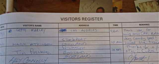 Billy Connolly's signature in the Wagon Wheel Motel's Guest Book