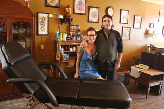 Tony and Sharon Corral in the Relic Tattoo Parlor Cuba, MO