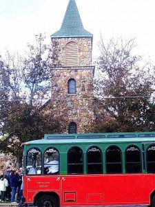 Trolley in front of the Catholic Church in Cuba, Missouri