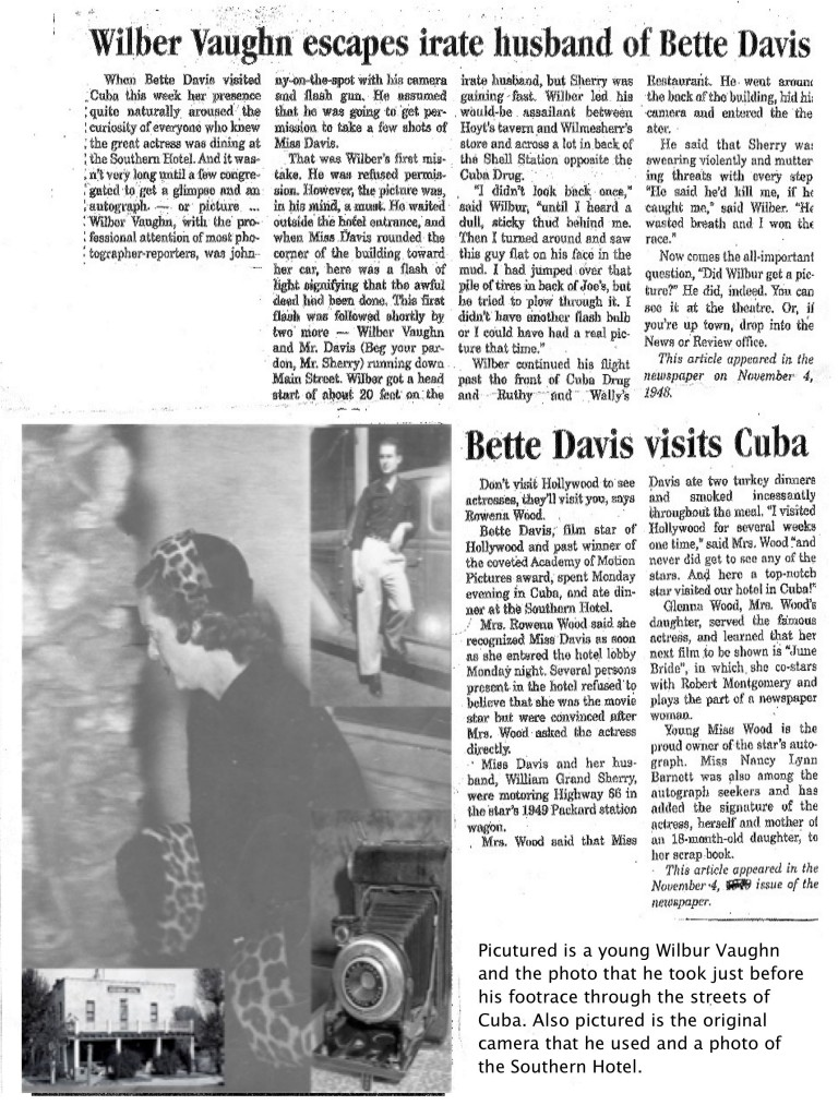 Bette Davis newspaper article Cuba News & Review