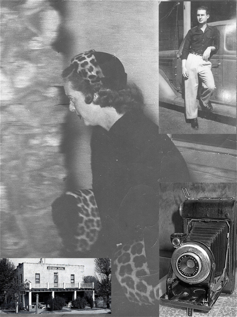 The photo shows a young Wilbur Vaughn, his photo of Bette Davis, his camera that he used, and the Southern Hotel as it was during the visit by Bette Davis.