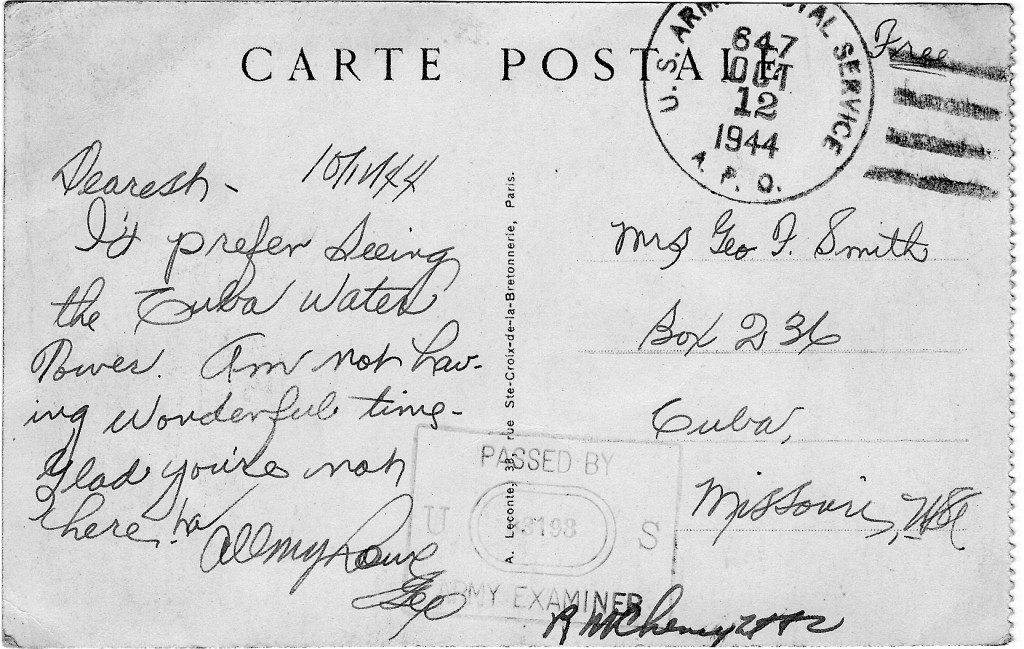 WWII Postcard from Paris, France