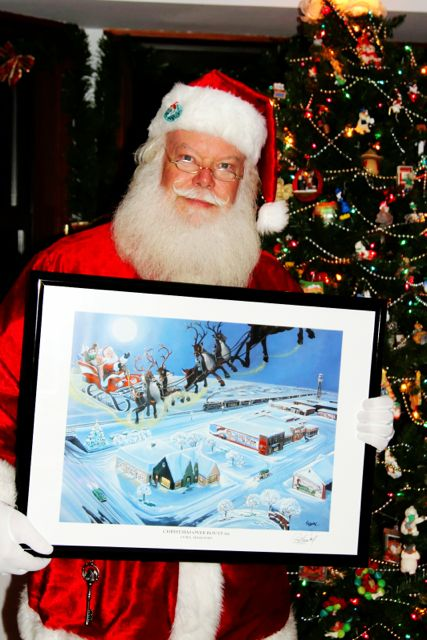 Santa & the Christmas Over Route 66 Print