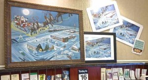 Stop off at the Highway Peoples Bank to see the original Christmas Over Route 66 Cuba, Missouri painting. Drop off some canned goods for the Cuba Food Pantry.
