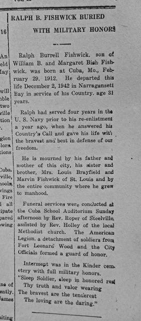 Ralph Fishwick was given a  military funeral in 1943.