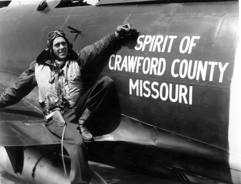 During WWII, the citizens of Crawford County, MO purchased The Spirit of Crawford Missouri, a P-47 fighter plane. Pictured  is Capt. Joe Curtiss.