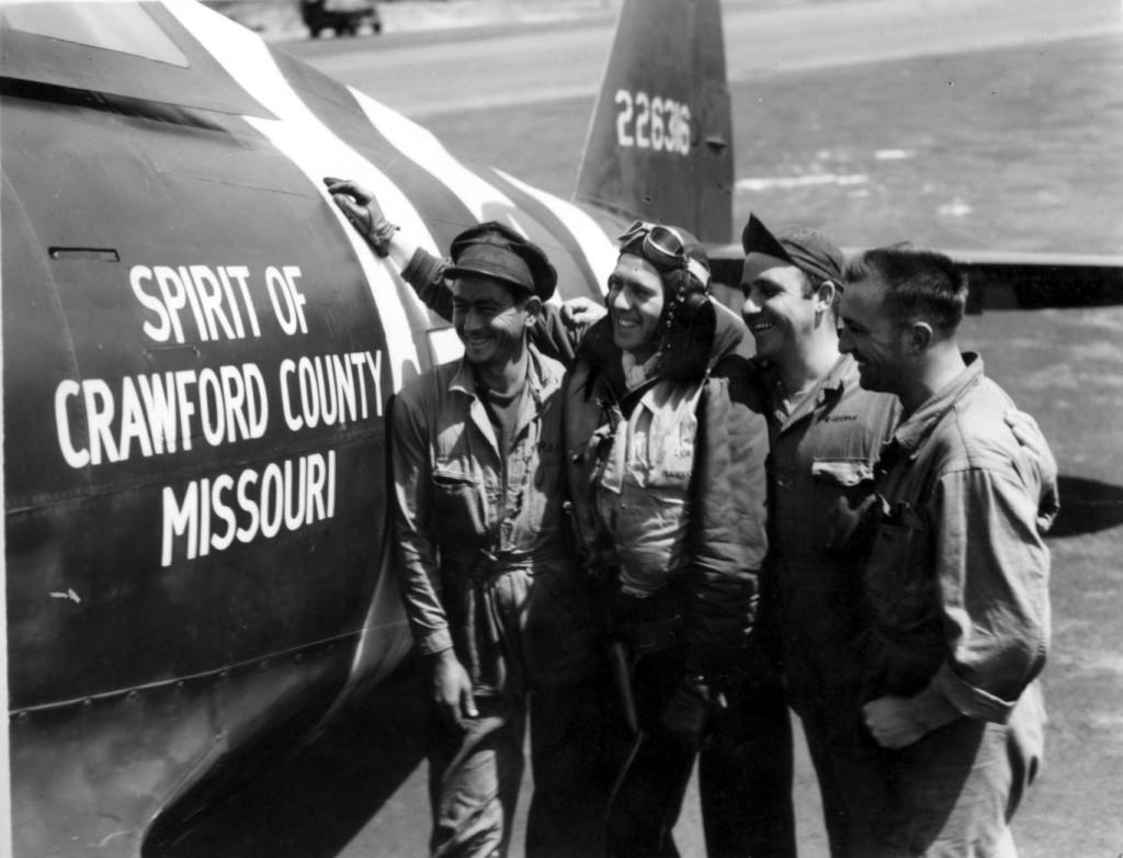 "Capt. Joseph R Curtis, Houston, TX. 63rd Fighter Squadron. P-47D 42-26316 UN-C_ ""Spirit of Crawford County Missouri"". Note Invasion Stripes Around fuselage.  Photo: Capt. McGarrigle via Chuck Zarkis"