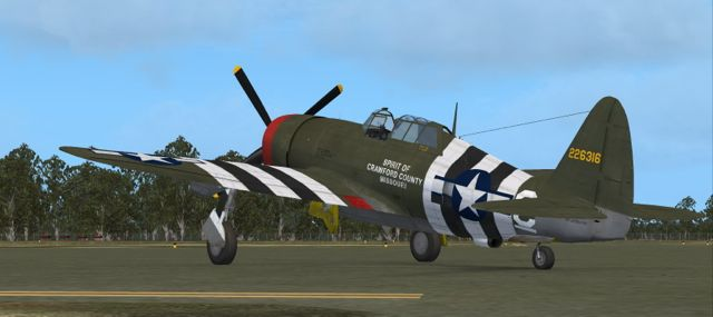 A simulated full plane shot shows the invasion stripes that were meant to help identify the plane from friendly fire. Later invasion stripes were removed from all planes.