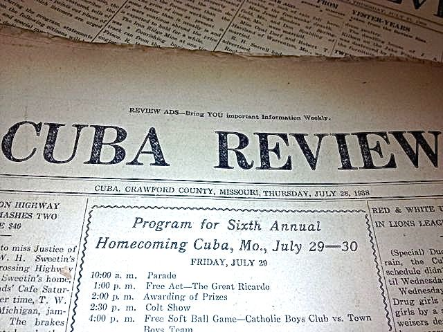 The Cuba Review of 1933 recounted a Route 66 crash involving a dog and two motorists.