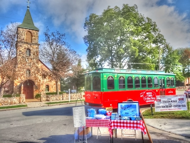 The Cuba Fest Trolley is a colorful part of the event.