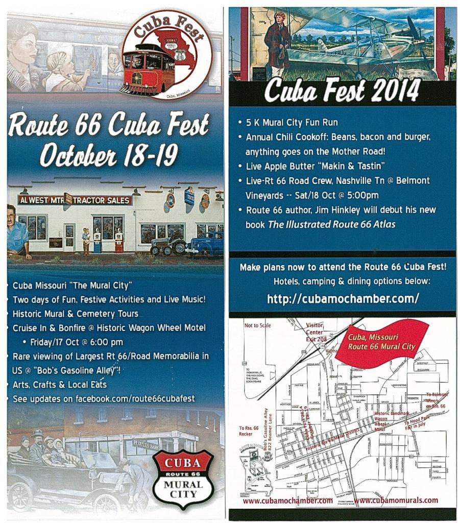 Rack Card 2014 Route 66 Cuba Fest