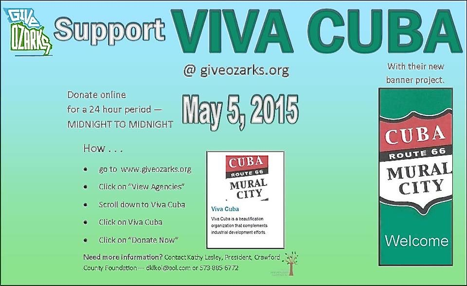 Join the friends of Viva Cuba in supporting Cuba, MO beautification projects.