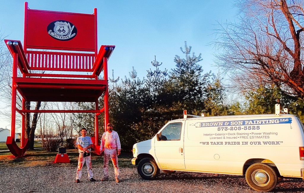 Brown & Son paints the Route 66 Red Rocker on Dec. 11, 2015