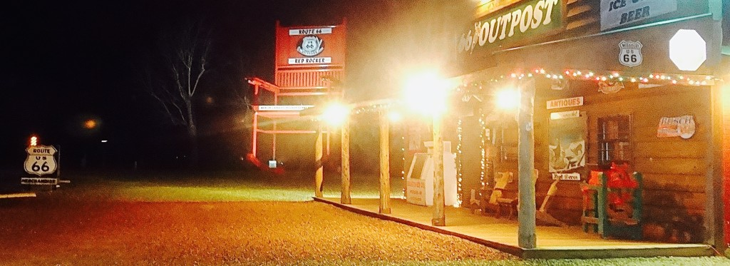The Route 66 Red Rocker is a photo opportunity even at night.