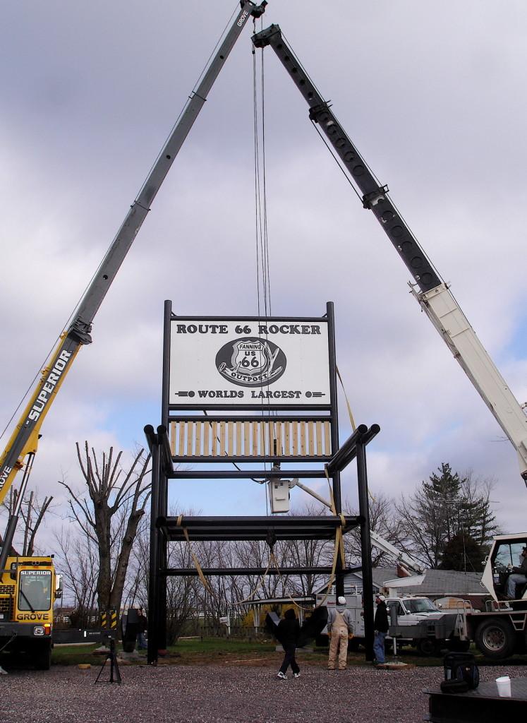 Cranes lift Route 66 Rocker