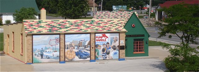 The Phillips 66 station was restored to its original look.