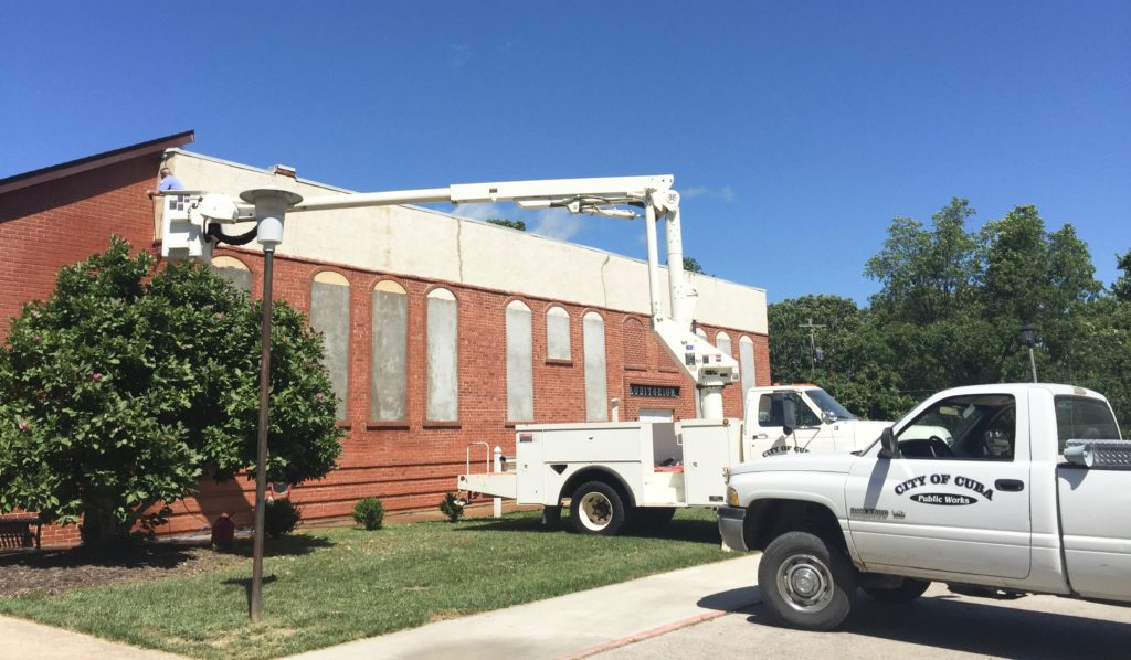 Recklein Auditorium gets a power-wash in July of 2017.